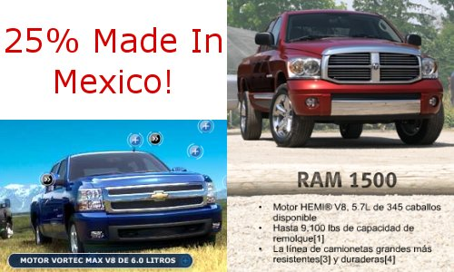 Dodge Ram and Chevy Silverado 25% Made in Mexico