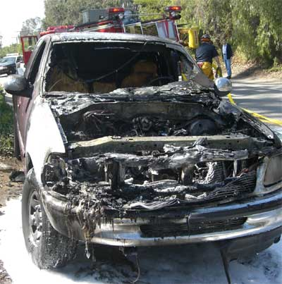 Burned-out Ford F150