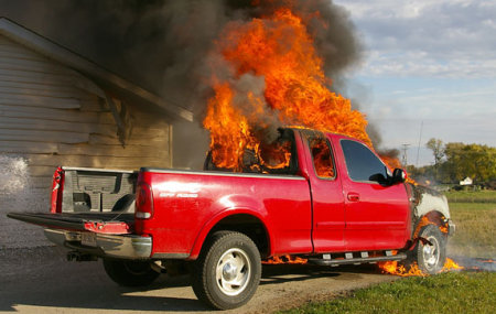 This F150 caught fire while parked as a result of a defective cruise control switch. Luckily it was outdoors.