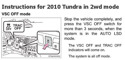 2010 Tundra VSC Shut Off Instructions
