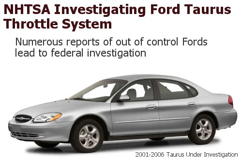 NHTSA Ford Taurus Throttle Cable Investigation