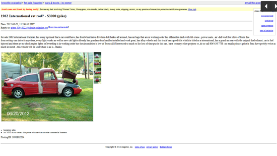Craigslist Ad for the International Grand Am Truckcar