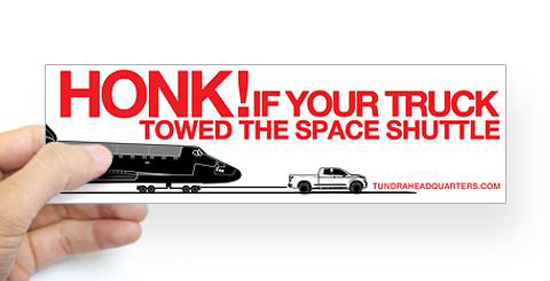 Tundra Towing Shuttle Bumper Sticker